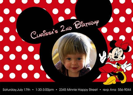 Mickey Minnie Mouse Ear Disney Custom Birthday Invitation a – Minnie Mouse Personalized Birthday Invitations