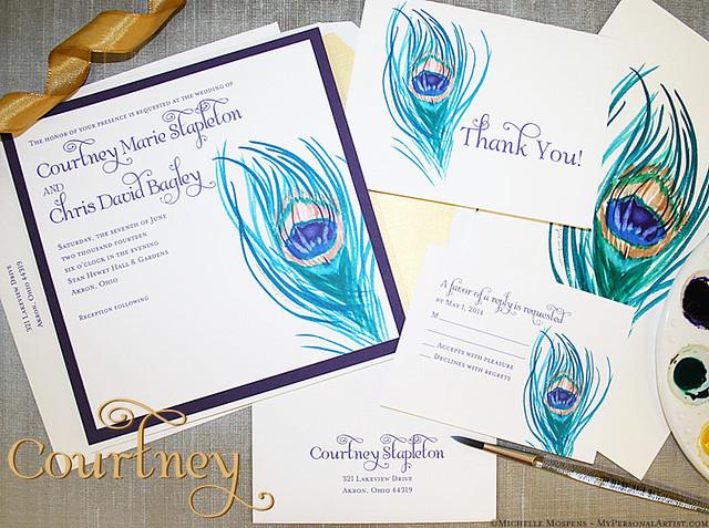 peacockweddinginvitationsstationery Peacock feather wedding invitations