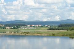 Langogne across the lake