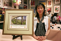 "Yoshiko Yamamoto with her new print for The Framer's Workshop 30th Anniversary, "" Berkeley Rose Garden"""