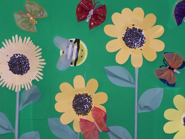 Sunflowers and Bees - detail