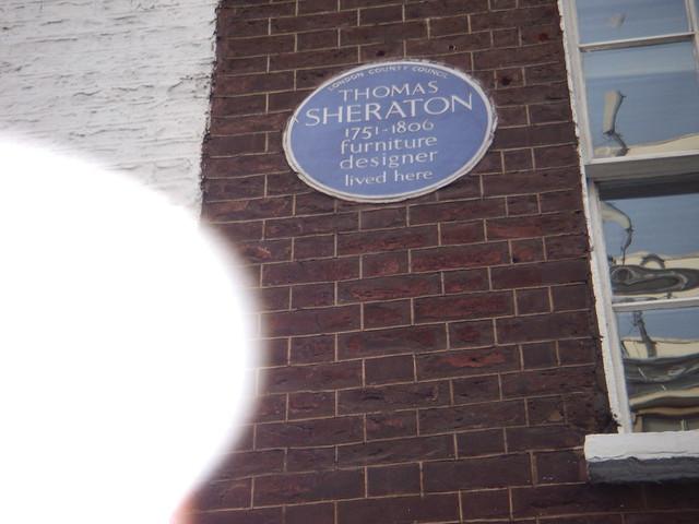 Thomas Sheraton blue plaque - Thomas Sheraton 1751-1806 furniture designer lived here