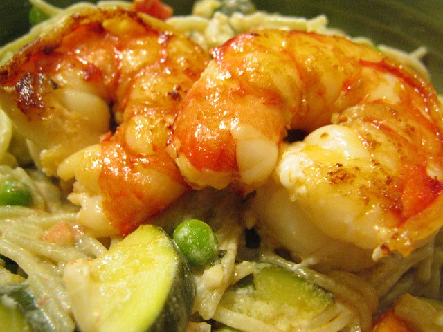 Goat Cheese Pasta Primavera with Seared Jumbo Shrimp | Flickr - Photo ...
