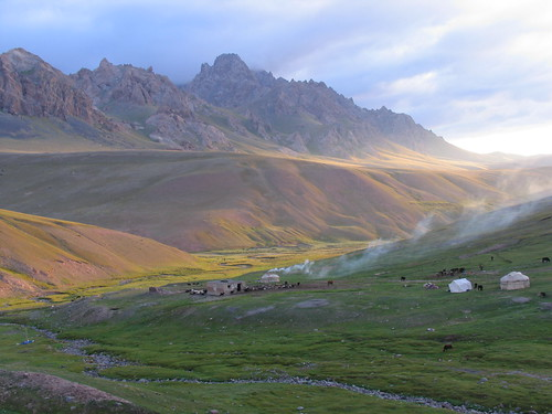 morning mountains nature yurt kyrgyzstan pamir