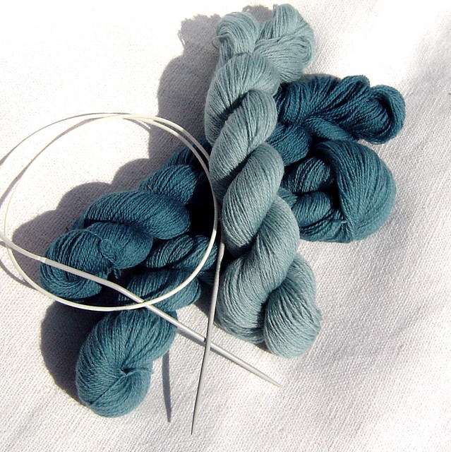 Woad dyed, fine lace-weight yarn