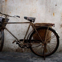 bicycle & wall with rust