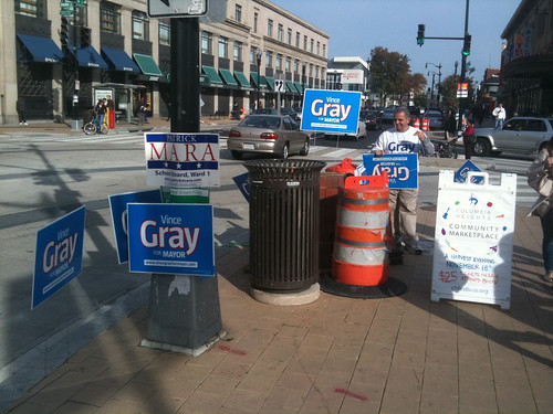 Gray signs, the day before election