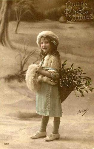 Vintage Postcard  ~ Winter Girl