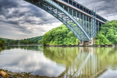 park nyc newyorkcity railroad bridge cloud newyork reflection station train geotagged bronx hill mta hdr metronorth henryhudsonbridge riverdale harlemriver spuytenduyvil henryhudson mudpig stevekelley innwood