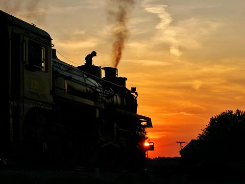 sunset sky clouds train steam locomotive