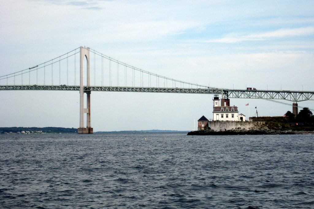 RI - Newport: Claiborne Pell Newport Bridge and Rose Island Light