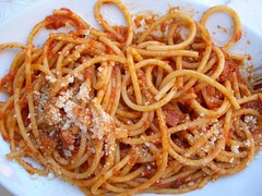 spaghetti alla puttanesca(0.0), produce(0.0), carbonara(0.0), bucatini(1.0), spaghetti(1.0), pasta(1.0), spaghetti aglio e olio(1.0), pasta pomodoro(1.0), linguine(1.0), bolognese sauce(1.0), naporitan(1.0), pici(1.0), food(1.0), dish(1.0), capellini(1.0), bigoli(1.0), cuisine(1.0),
