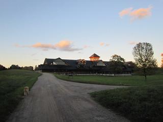 Breeding barn at twilight