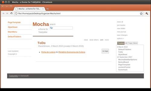 Mocha - a theme for TiddlyWiki
