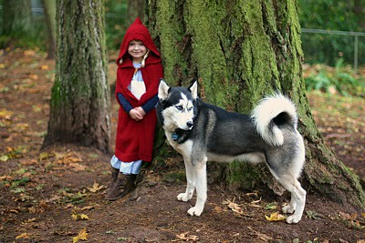 """My girls as Little Red Riding Hood, each with a """"wolf!"""" Handmade costume handed down. 5142946328_3ff09b6b86"""