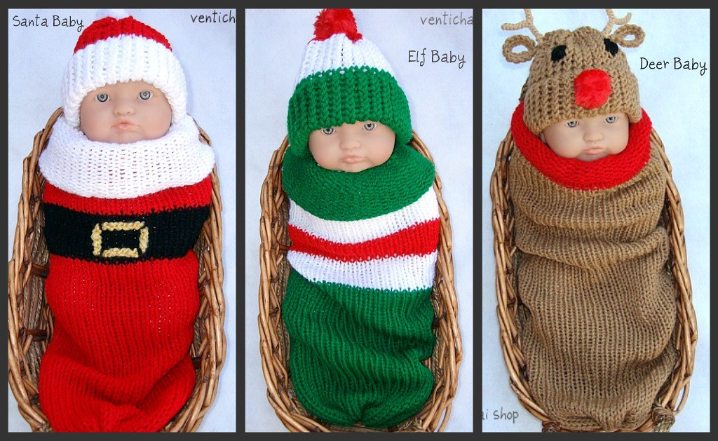 Santa, Elf, Reindeer Baby Knit Seed Pod Cocoon Plus Hat Great Winter Christmas Photo Prop and Outfit