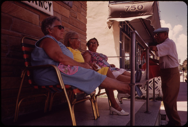 Residential Hotels for Retired Persons of Limited Means Dot the South Beach Area. The Front Porch Is a Favorite Gathering Place.