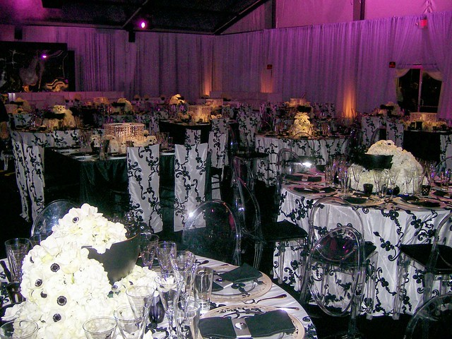 Black and White Themed Wedding Full Room View of Reception Area