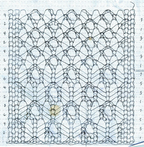 Knitting Drawing Software : Bird s eye pattern and spiderling lace