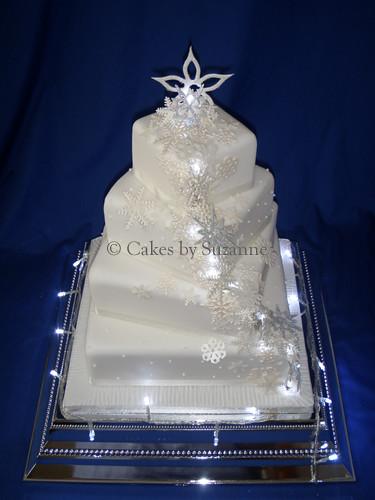 Snowflake And Fairy Lights Wedding Cake