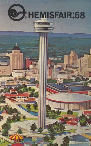 sanantonio vintage texas postcard 1968 worldsfair 68 toweroftheamericas hemisfair