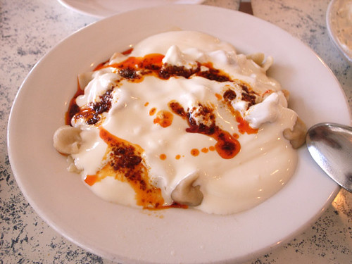 Turkish Manti with yogurt - Sömine restaurant, Hackney