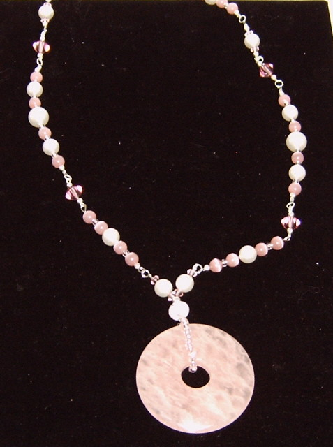 Rose Quartz Donut pendant necklace | www blueboygifts com ro… | Flickr
