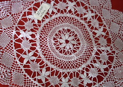 lace, pattern, textile, doily, tablecloth, design, crochet, circle,