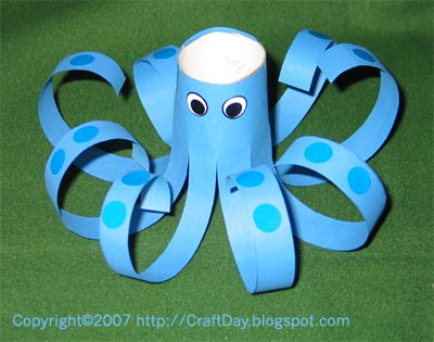 Craft day paper octopus for Octopus craft for preschool
