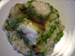 Pea risotto with pancetta-wrapped monkfish