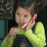Little Kazakh Girl on the Phone - Almaty, Kazakhstan