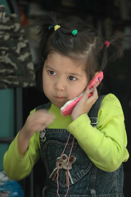 Little Kazakh Girl on the Phone - Almaty, Kazakhstan