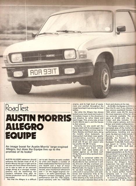 Austin Allegro Equipe Road Test 1979 (1)
