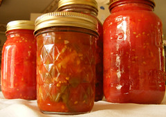 home-canned tomatoes and salsa