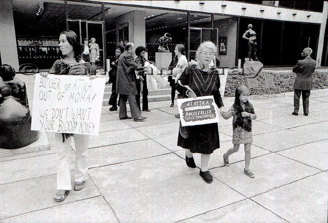371-14-092371001R Yvonne Rainer, Alice Neel -- AWC-Attica protest at MOMA