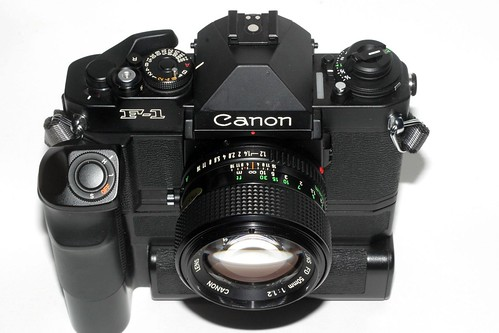 Canon F-1 New with motor drive and 50mm f1.2 lens