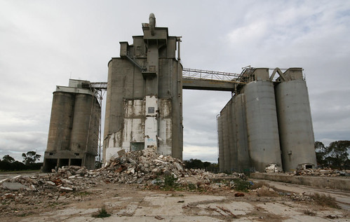 Three sets of of abandoned silos