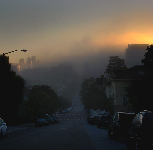 Sunrise and morning fog POV Pacific Heights, San Francisco (2010)