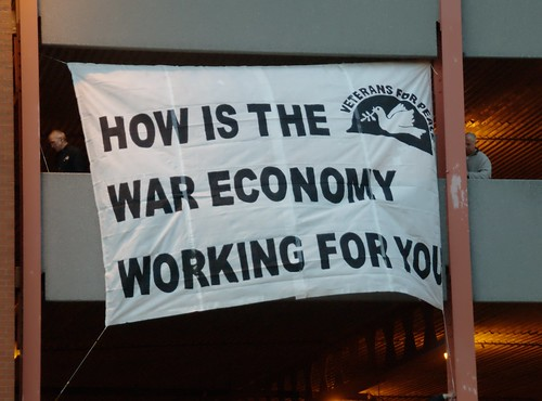 "Veterans for Peace Banner Drop: ""How is the War Economy Working for You?"" (Pittsburgh, PA)"