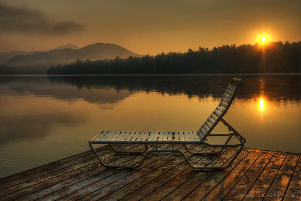 Park Morning Mountain Lake Newyork Sunrise Relax Dawn Mirror Early Dock Chair Quiet Lounge Calm Serene
