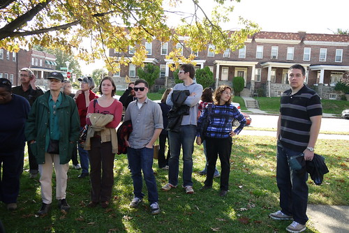 Tour group at James Mosher Elementary School, Greater Rosemont Walking Tour