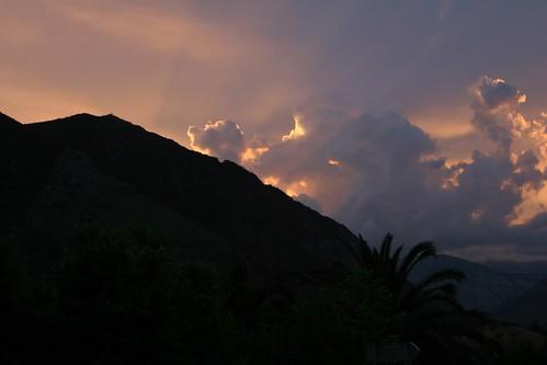 sunset mountain mountains europe montenegro kotor