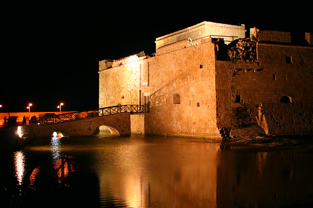 Paphos castle at night by flickr user apdk