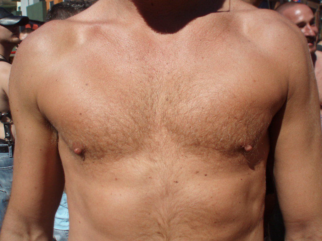 FOLSOM STREET FAIR  finely defined chest (safe photo)