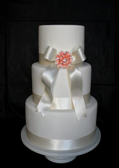 Ivory And Peach Fake Wedding Cake