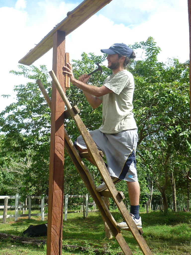 Panthera Field Scientist Daniel Corrales hammering away