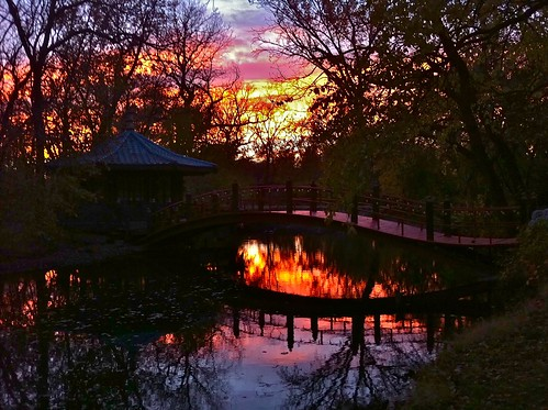 cameraphone bridge sunset color reflection fall water landscape pond teahouse iphone