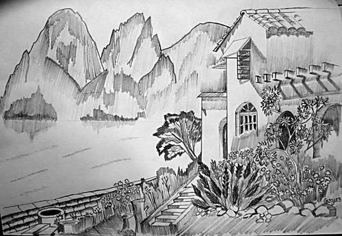 My Dream House Photograoh Of A Pecil Sketch I Made