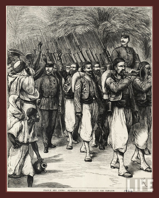 France and China - Algerian Troops en Route for Tonkin -  1883