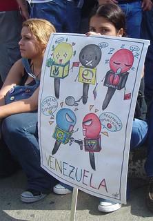 Cartel mapa de medios de comunicación en Venezuela